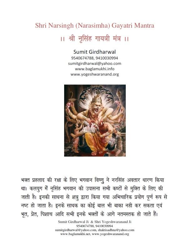 Narasimha Gayatri Mantra Sadhna Evam Siddhi in Hindi Image Part 1