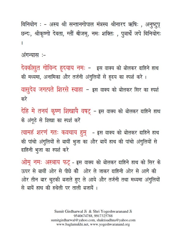 Santan Gopal Mantra Vidhi in Hindi and Sanskrit Pdf Part 4