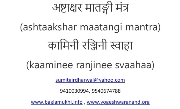ashtakshar matangi mantra in hindi and english