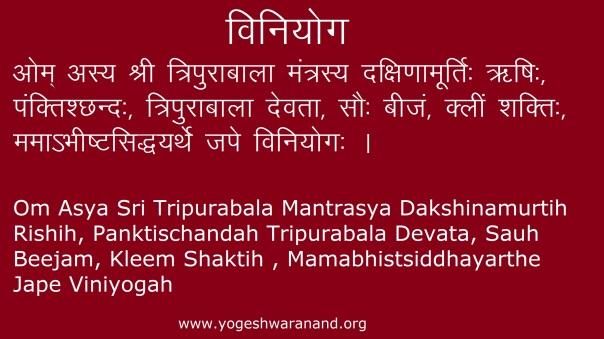 Ma Bala Tripura Sundari Mantra Viniyog